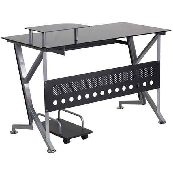 Black Glass Computer Desk with CPU Cart
