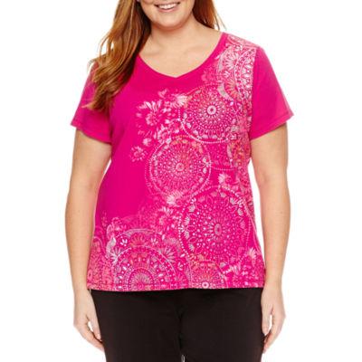 Made For Life Short Sleeve V Neck Medallion T-Shirt-Womens Plus