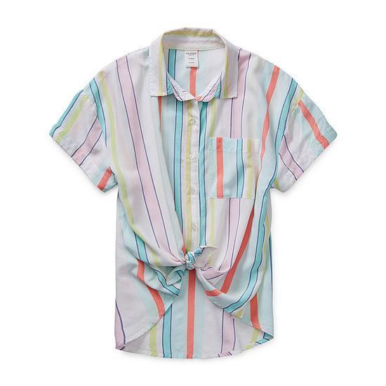 Arizona Little & Big Girls Short Sleeve Button-Down Shirt