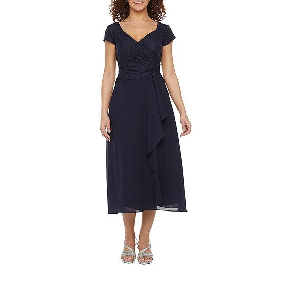 J Taylor Short Sleeve Midi Fit & Flare Dress