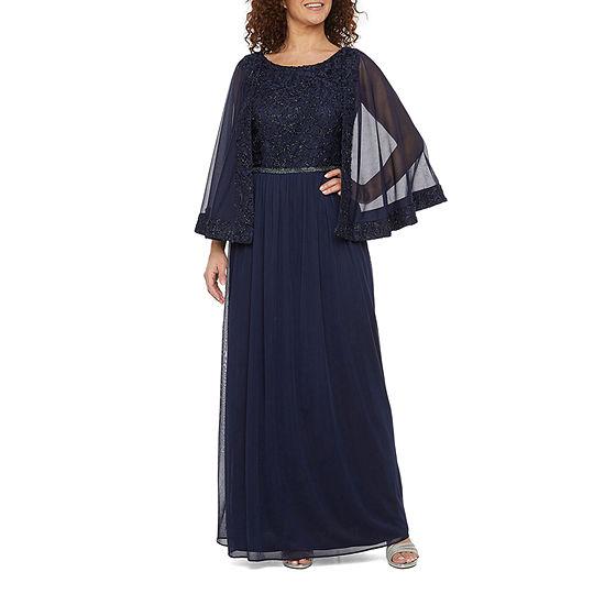 Maya Brooke Sleeveless Embellished Cape Dress