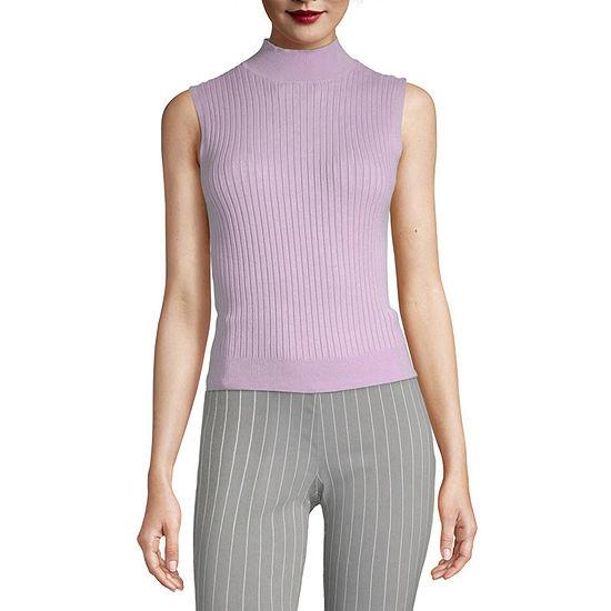 Worthington Womens Mock Sweater - Tall
