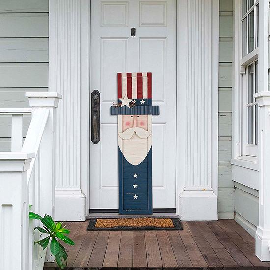 "Glitzhome 36.06""H Wooden/Metal Patriotic Uncle Sam Porch Wall Sign"