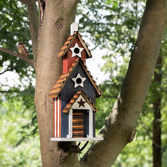 "Glitzhome 24.41""H Oversized Wooden/Rustic Metal Patriotic Bird Houses"