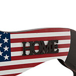 "Glitzhome 24.52""L Metal/Wooden Patriotic Double Sided Home/Welcome Dachshund Yard Stake"