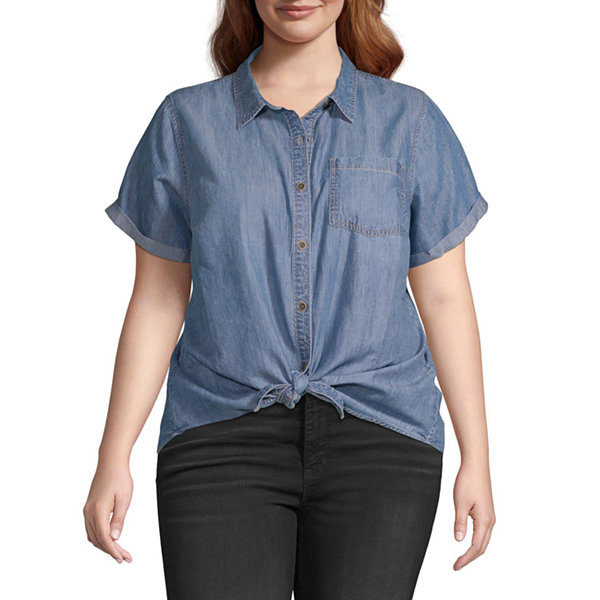 a.n.a-Plus Womens Tie Front Button-Down Camp Shirt