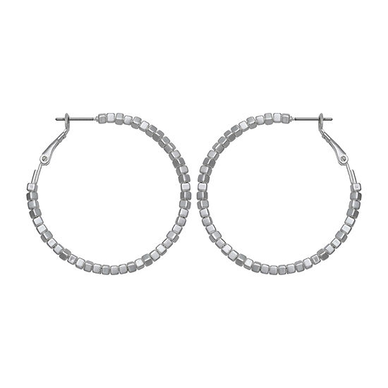 a.n.a Silver Tone Beaded Hoop Earrings