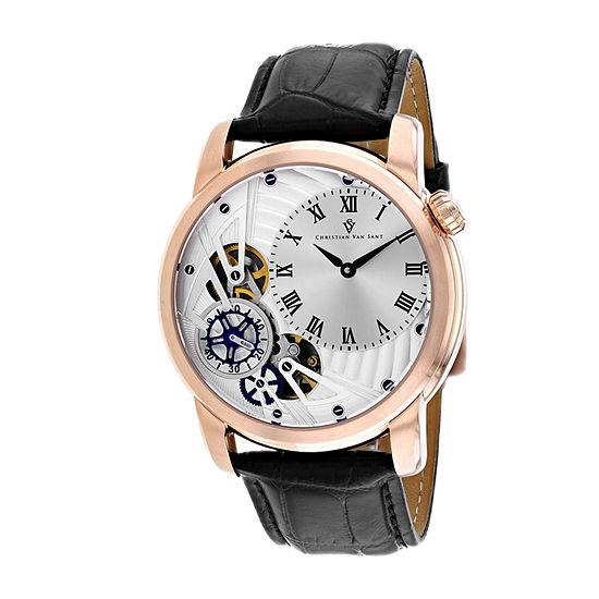 Christian Van Sant Mens Black Leather Strap Watch-Cv1545