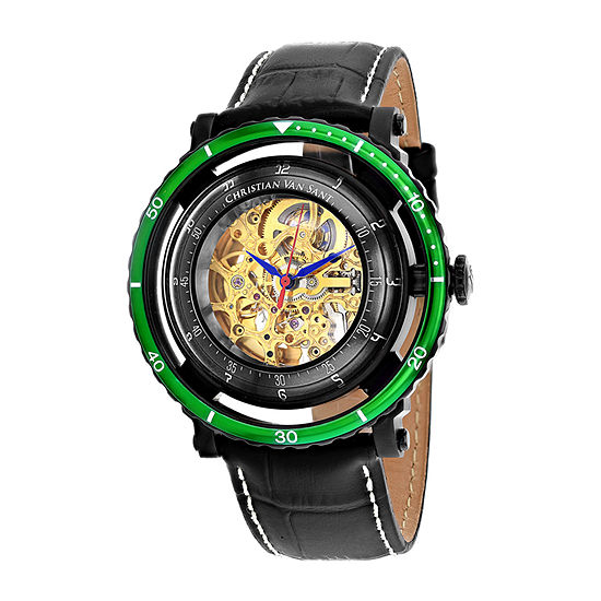 Christian Van Sant Mens Automatic Black Leather Strap Watch-Cv0745