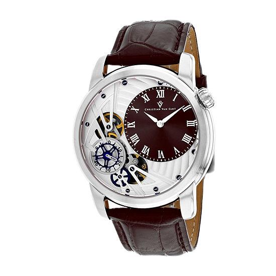 Christian Van Sant Mens Brown Leather Strap Watch-Cv1544