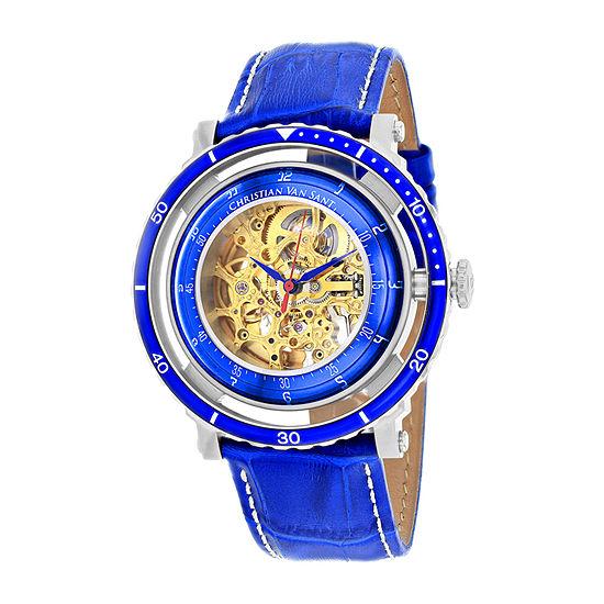 Christian Van Sant Mens Automatic Blue Leather Strap Watch-Cv0740