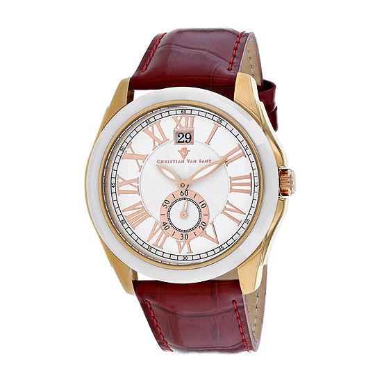 Christian Van Sant Mens Red Stainless Steel Bracelet Watch-Cv3102