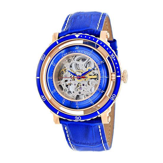 Christian Van Sant Mens Automatic Blue Leather Strap Watch-Cv0742