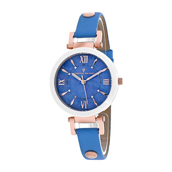 Christian Van Sant Womens Blue Leather Strap Watch-Cv8165