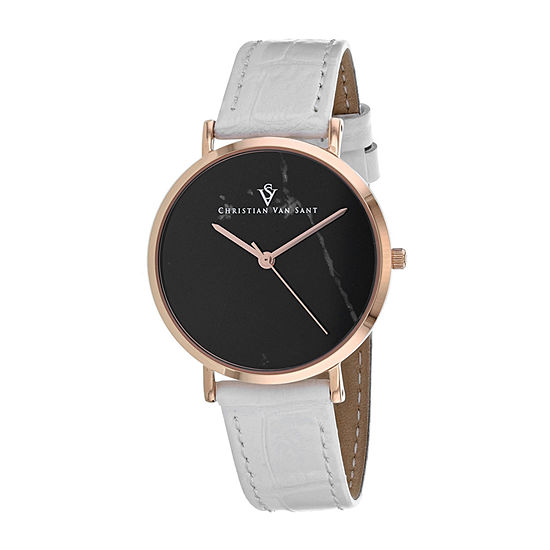 Christian Van Sant Womens White Leather Strap Watch-Cv0423
