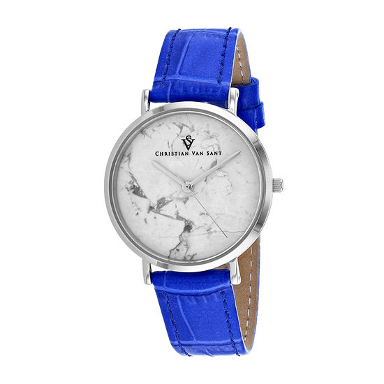 Christian Van Sant Womens Blue Leather Strap Watch-Cv0420