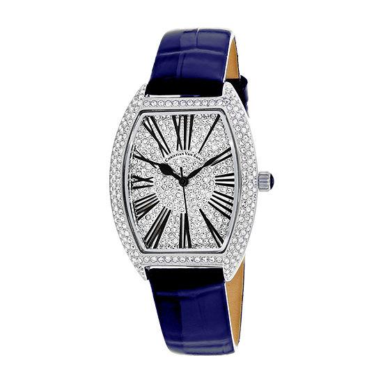 Christian Van Sant Womens Blue Leather Strap Watch-Cv4841