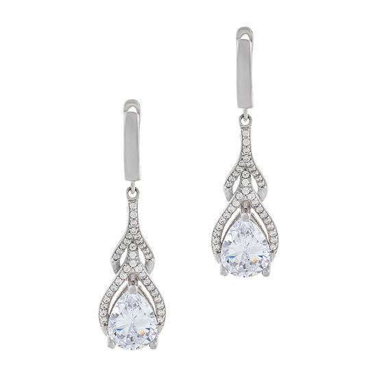 Diamonart 3 1/2 CT. T.W White Cubic Zirconia Sterling Silver Drop Earrings