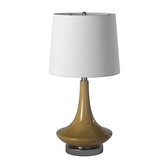 Stylecraft 14 W Beige Glass Table Lamp