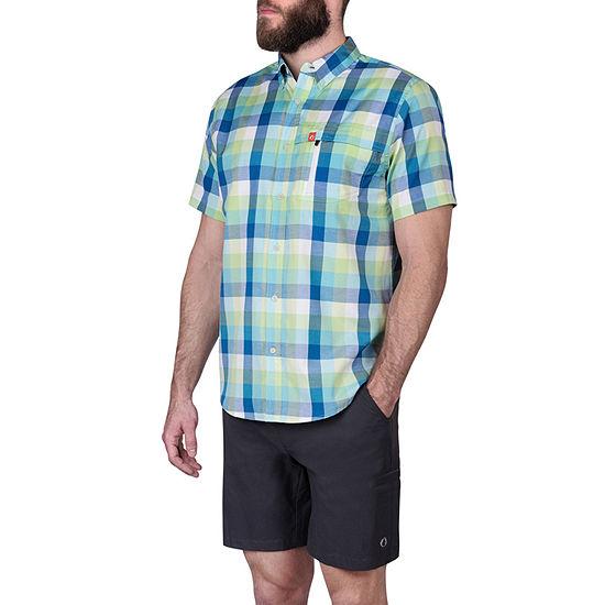 American Outdoorsman Mens Short Sleeve Cooling Moisture Wicking Plaid Button-Down Shirt