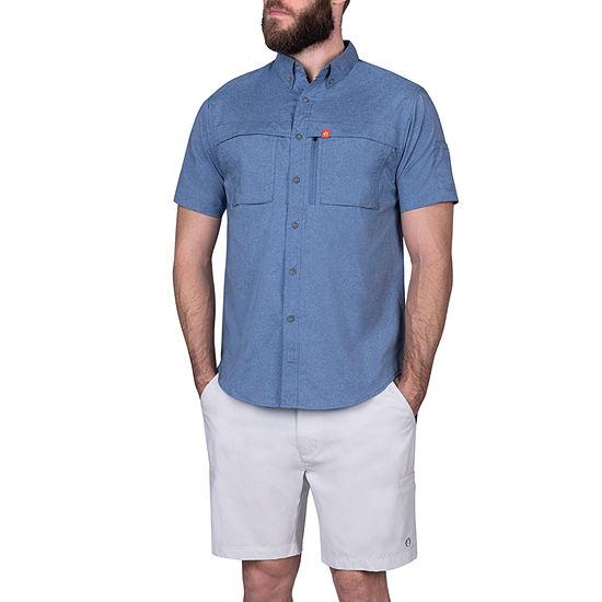 American Outdoorsman Mens Short Sleeve Cooling Moisture Wicking Button-Down Shirt