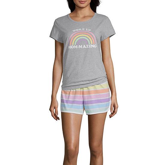 Sleep Chic Womens Shorts Pajama Set 2-pc. Short Sleeve