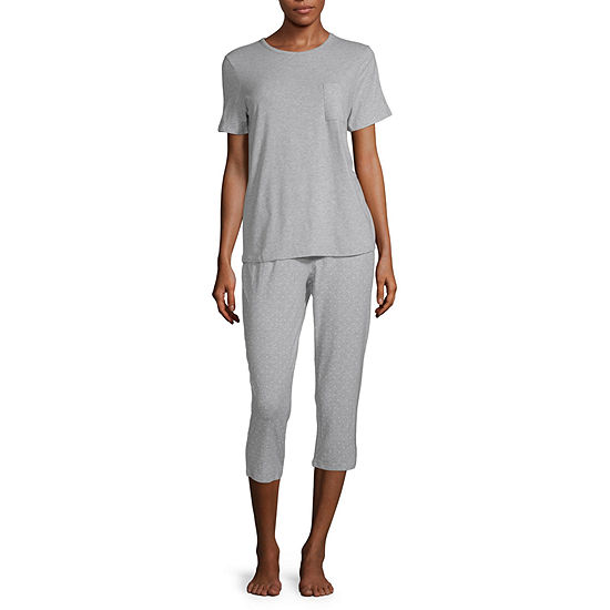 Liz Claiborne Womens Pant Pajama Set 3-pc. Short Sleeve