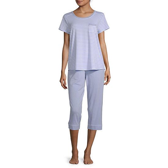 Liz Claiborne Womens 2-pc. Capri Pajama Set Short Sleeve Crew Neck