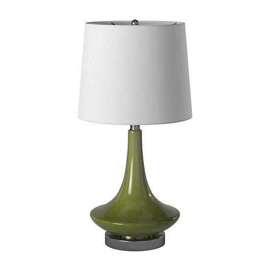 Stylecraft 14 W Green Glass Table Lamp