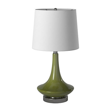 Stylecraft 14 W Green Glass Table Lamp, One Size , Green