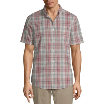 St. John's Bay Mens Short Sleeve Plaid Button-Down Shirt