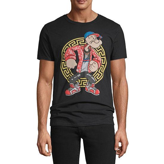 Designer Popeye Mens Crew Neck Short Sleeve Graphic T-Shirt