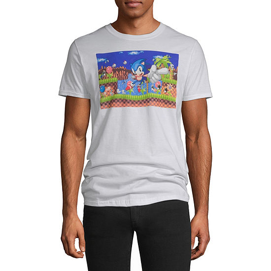 Mens Crew Neck Short Sleeve Sonic the Hedgehog Graphic T-Shirt