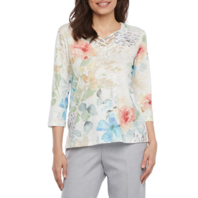 Alfred Dunner Petite-Womens Round Neck 3/4 Sleeve T-Shirt