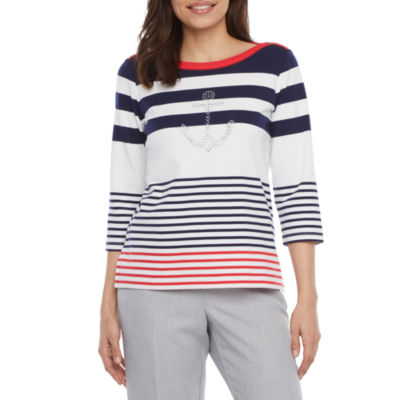 Alfred Dunner Petite-Womens Boat Neck 3/4 Sleeve T-Shirt