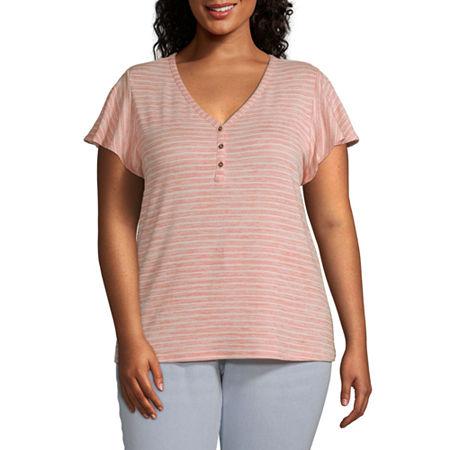 a.n.a-Plus Womens Short Sleeve Flutter T-Shirt, 0x , Multiple Colors