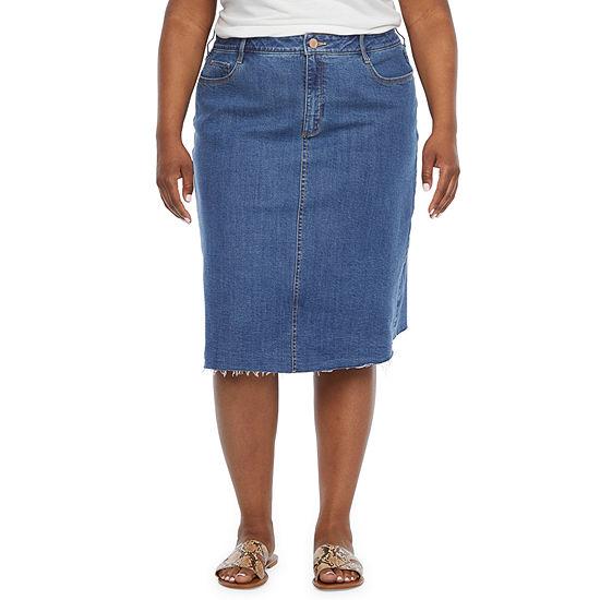 a.n.a Womens Mid Rise Denim Skirt-Plus