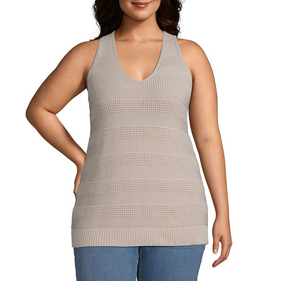 a.n.a-Plus Womens V Neck Sleeveless Pullover Sweater