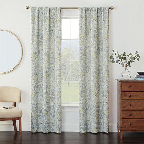 Eclipse Kerry Paisley Energy Saving Blackout Rod-Pocket Set of 2 Curtain Panel