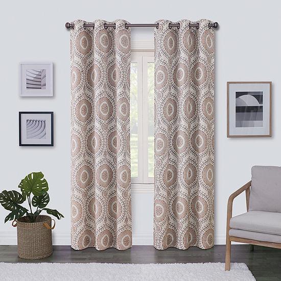 Regal Home Surfaces Medallion Light-Filtering Grommet-Top Single Curtain Panel