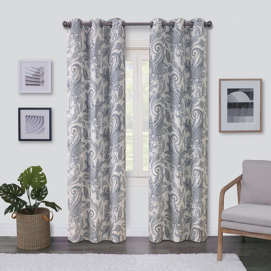 Regal Home Surfaces Paisley Light-Filtering Grommet-Top Single Curtain Panel