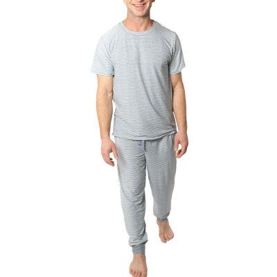 Jaclyn True Stripe Family Sleep Mens Pant Pajama Set 2-pc. Short Sleeve