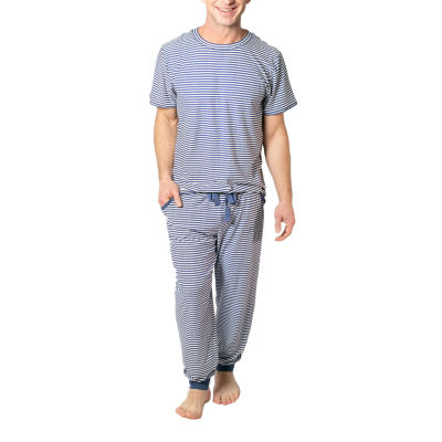 Jaclyn Magazine Stripe Family Sleep Mens Pant Pajama Set 2-pc. Short Sleeve
