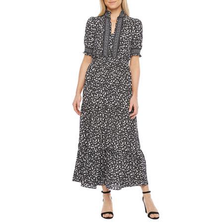 Peasant Dresses & Prairie Dresses London Style Short Sleeve Floral Maxi Dress 12  Black $66.75 AT vintagedancer.com