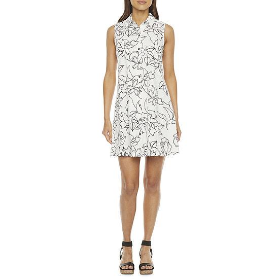 MSK Sleeveless Floral Print Shirt Dress
