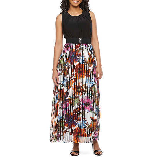 Danny & Nicole-Petite Sleeveless Floral Maxi Dress with Coordinating Face Mask