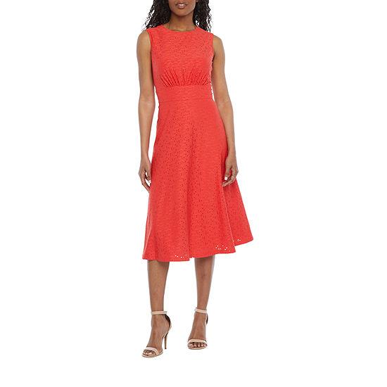 London Style Sleeveless Eyelet Midi Fit & Flare Dress