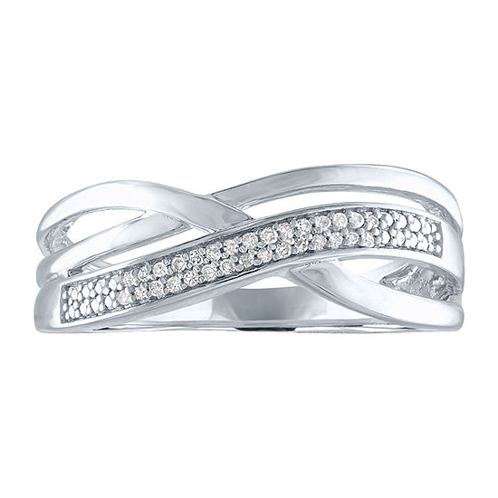 Womens Diamond Accent Genuine White Diamond Accent Sterling Silver Crossover Cocktail Ring