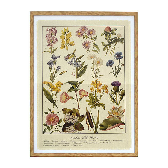 24x30 Framed Linen Wildflowers