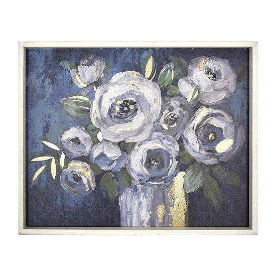 16x20 Blue & White Flowers